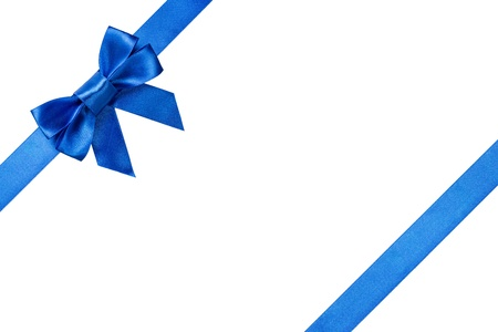 Blue ribbons with bow with tails isolated on white background photo