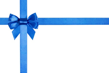 composition with blue ribbons and a bow isolated on white Stock Photo - 16429068