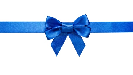 blue ribbon: green ribbon with bow with tails isolated on white background