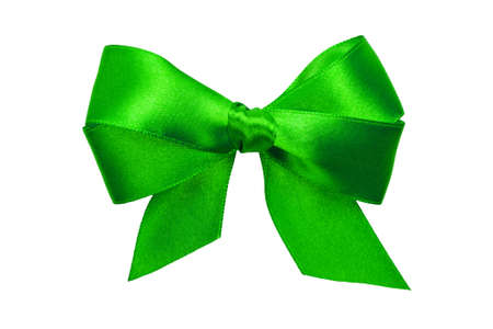 green bow with tails from ribbon isolated on white photo