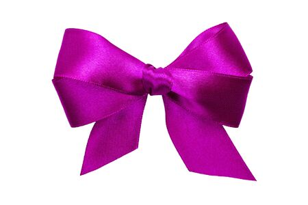 purple bow with tails from ribbon isolated on white photo