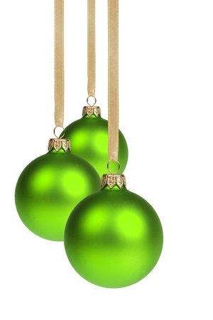 christmas ball isolated: three christmas balls hanging on ribbon isolated on white