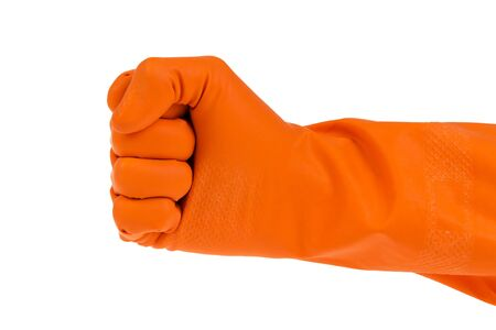 hand in fist outstretched in orange glove isolated on white Stock Photo - 16749010