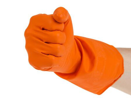 hand in fist outstretched in orange glove isolated on white Stock Photo - 16749017