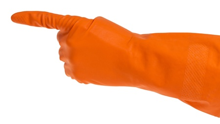Hand in orange glove points the finger isolated on white photo