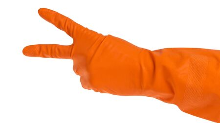 hand in orange glove count to two isolated on white photo