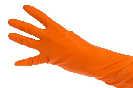 hand in orange glove count to four isolated on white photo
