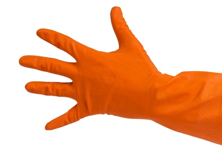 hand in orange glove count to five isolated on white photo