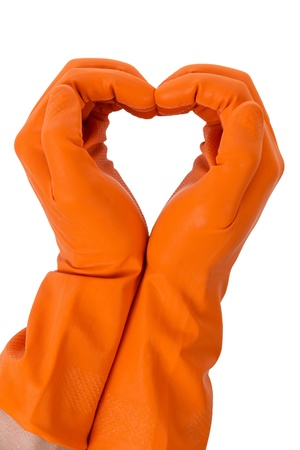 hands show love symbol in orange gloves isolated on white photo