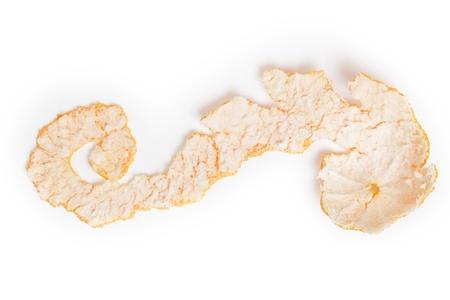 tangerine peel: long tangerine peel isolated on white background