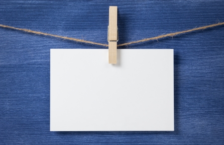 white blank card on rope, template with copyspace Stock Photo - 16971050