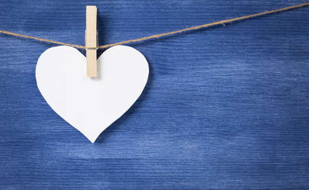 blank white heart over wood wall, valentines background Stock Photo - 16970992