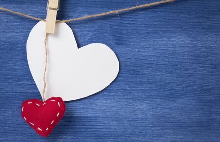 blank white heart over wood wall, valentines background Stock Photo - 16971054