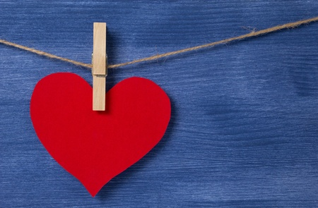 blank red heart over wood wall, valentines background Stock Photo - 16970993