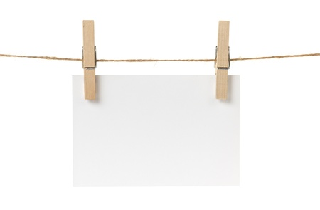 blank white paper card hanging, isolated on white Stock Photo - 17030351