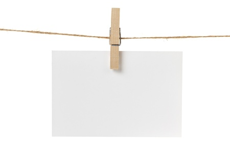paper pin: blank white paper card hanging, isolated on white