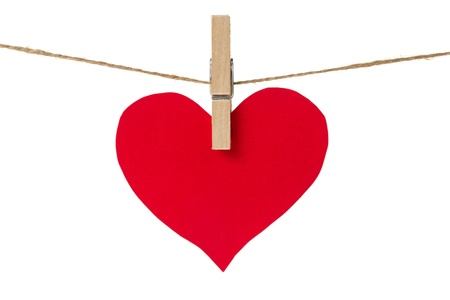 red paper heart hanging, isolated on white Stock Photo - 17030354