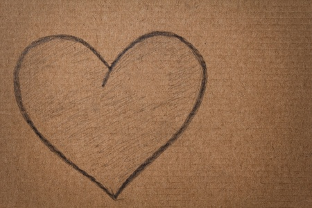 heart shape in pencil on cardboard, valentines theme photo