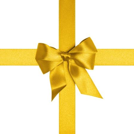 fiocco oro: quadrato con nastri d'oro e un fiocco isolato su bianco