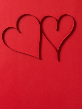 two paper hearts from above, valentines day background photo