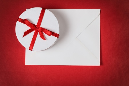 background with gift box and envelope, space for text Stock Photo - 17253745
