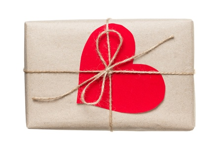 valentines day parcel, isolated on white background Stock Photo - 17253752