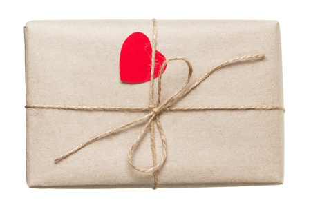 valentines day parcel, isolated on white background Stock Photo - 17253741