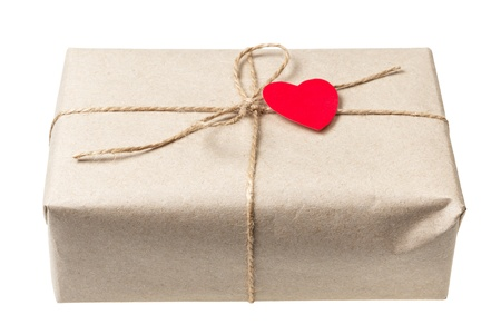 valentines day parcel, isolated on white background photo