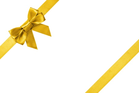 gold ribbons with bow with tails, isolated on white background Stock Photo