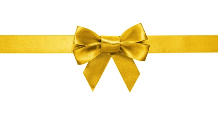 gold ribbon bow isolated on white background photo