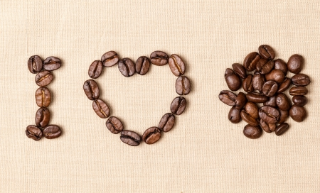 declaration of love with coffee beans on burlap photo