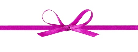 thin purple bow with horizontal ribbon, isolated on white photo