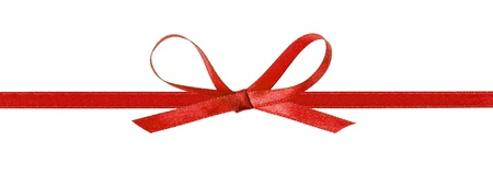 thin red bow with horizontal ribbon, isolated on white