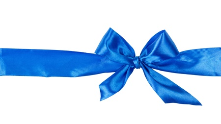 blue tied bow from ribbon, isolated on white background photo