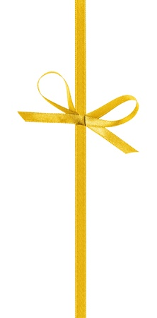 yellow ribbon: thin yellow bow with vertical ribbon, isolated on white Stock Photo