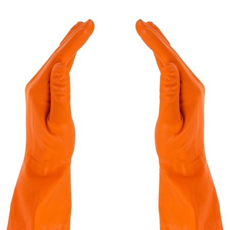 two hands in protective gloves symbol, isolated on white Stock Photo - 17816961