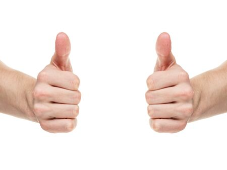 thumbs up gesture: adult man hands shows thumbs up, isolated on white