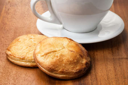cappuchino: cottage cheese cookies with cappuchino cup, breakfast theme