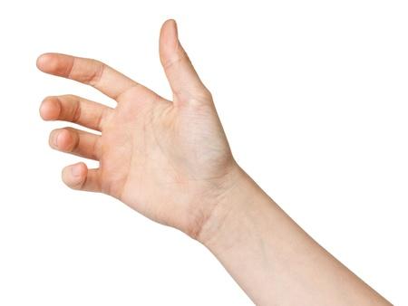 femme jeune main pour tenir gadget, isolé sur blanc Banque d'images