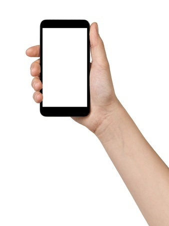 female teen hand holding touch device, isolated in white with white screen photo