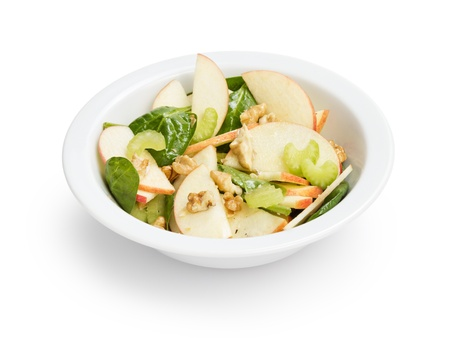 modern variation of waldorf salad, on white background photo