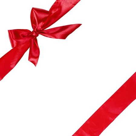 red ribbon with bow, square composition isolated on white background photo