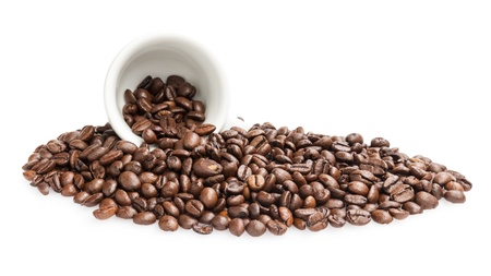 heap of coffee beans with cup, isolated on white photo