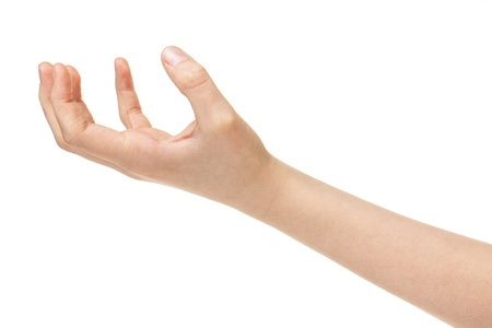 empty female teen hand, isolated on white photo