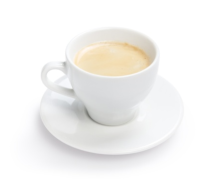 simple cup of espresso, isolated on white background