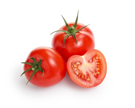 fresh tomatoes one half, isolated on white photo