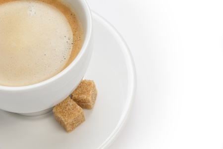 cup of espresso with cane sugar, border composition photo
