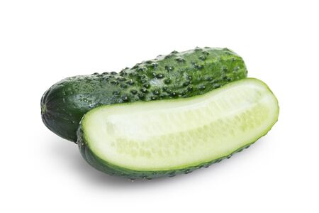 greenhouse cucumber with slices, isolated on white