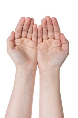 suplicando: dos vac�os manos femeninas adolescentes suplicantes, aislados en blanco