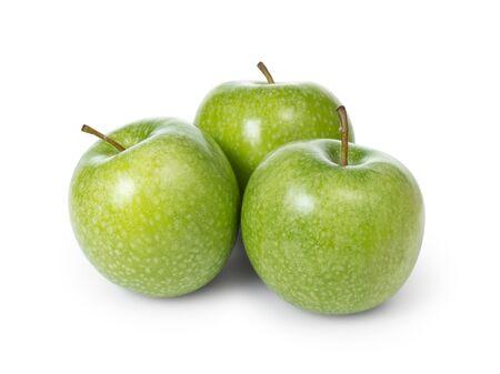 granny smith: three fresh green granny smith apples, isolated Stock Photo